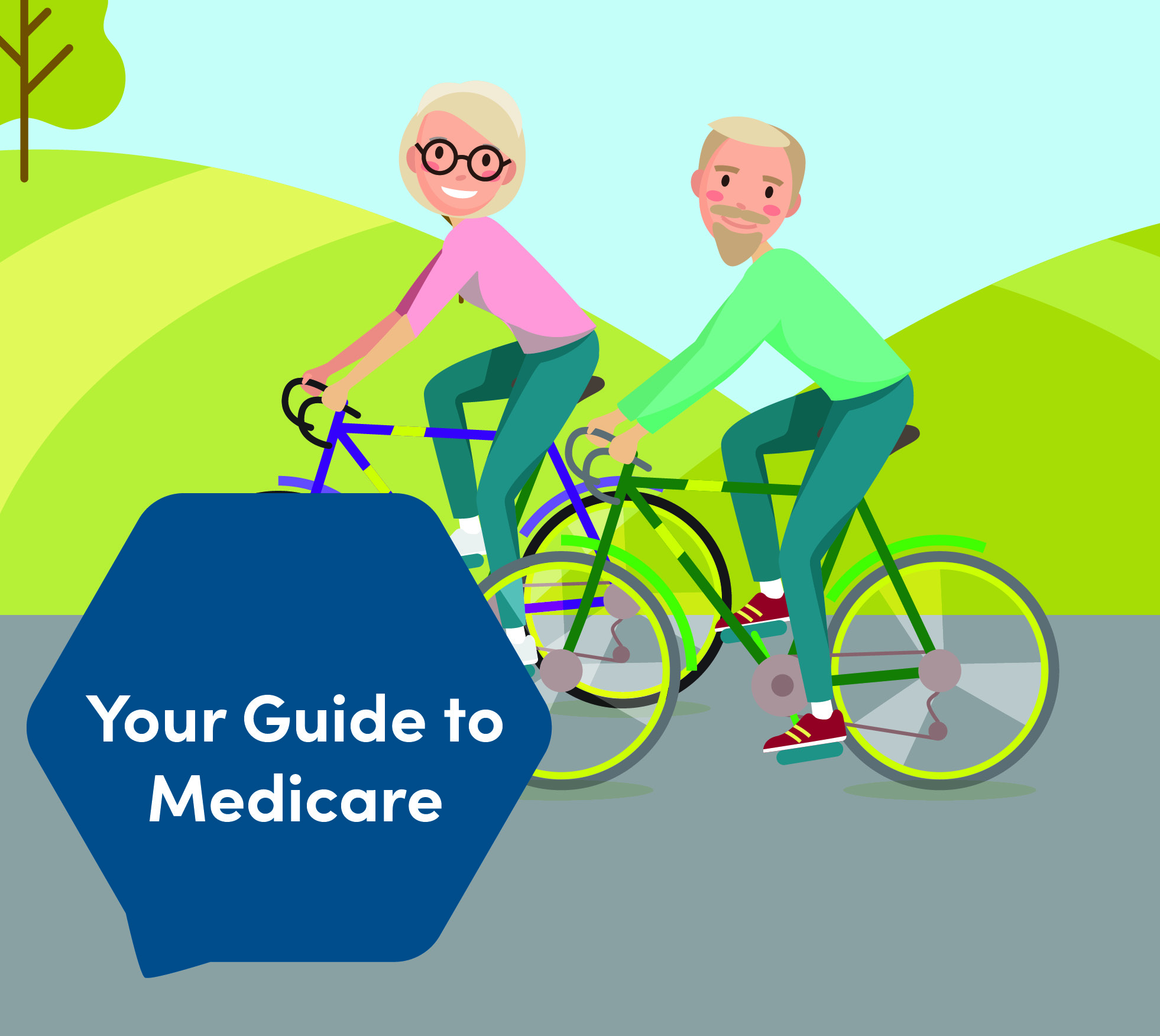 Your Guide To Medicare Graphic - Two People Bicycling